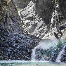 American attempts huge jumps at stunning Siete Tazas rock pools in Chile.