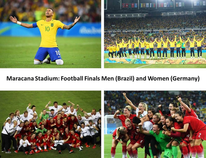 The final matches of the men's and women's football competition