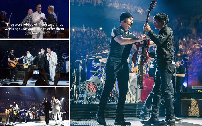 "Bono and Eagles frontman Jesse sang Patti Smith's ""People Have The Power"" three weeks after terrorists killed 130 fans"