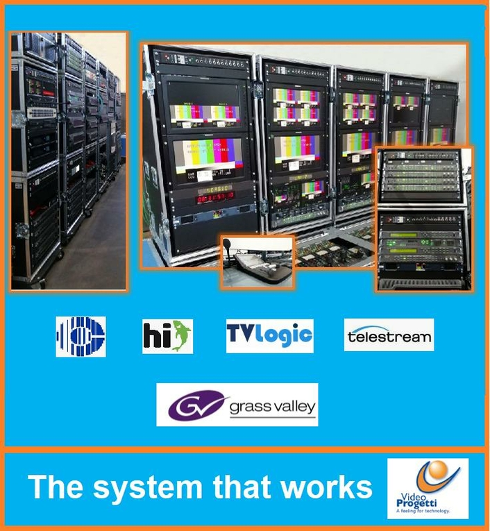 The system allows for the highest quality live broadcasts to be produced on-site from a studio that fits within flight cases
