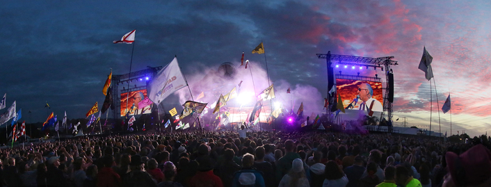 RG Jones Sound Engineering deployed for the second year running Martin Audio's Multi-Cellular Loudspeaker Array (MLA) system on Glastonbury Festival Pyramid Stage