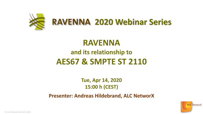 RAVENNA announces series of educational webinars on AoIP