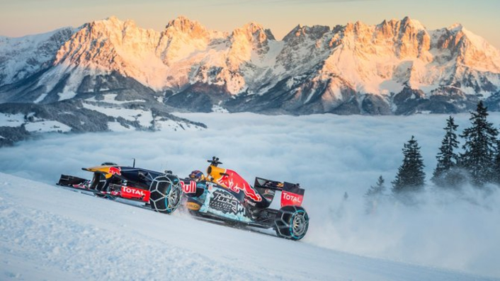 Why stick to the road when you can take your Formula 1 to the ski slopes?