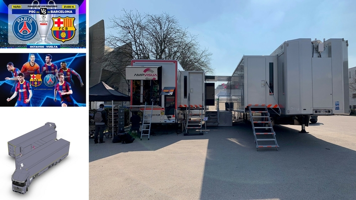 A first in France: the connection of two OB vans for an exceptional set-up for the PSG-Barcelona Champions League match