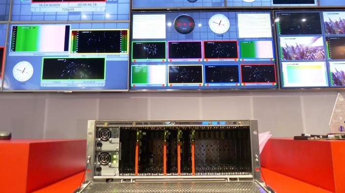 The LiveIP Studio uses Axon's Synapse networked multiviewer technology to provide signal processing and monitoring for IP-based production