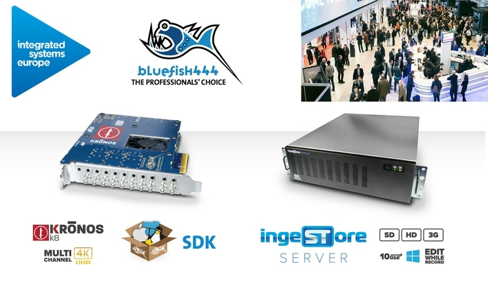 Bluefish444 Demonstrate KRONOS Developer Video Cards and IngeSTore Live Recording Appliance at ISE 2020