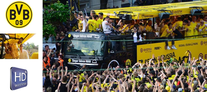 Wireless transmission from the Borussia Dortmund Corso Truck