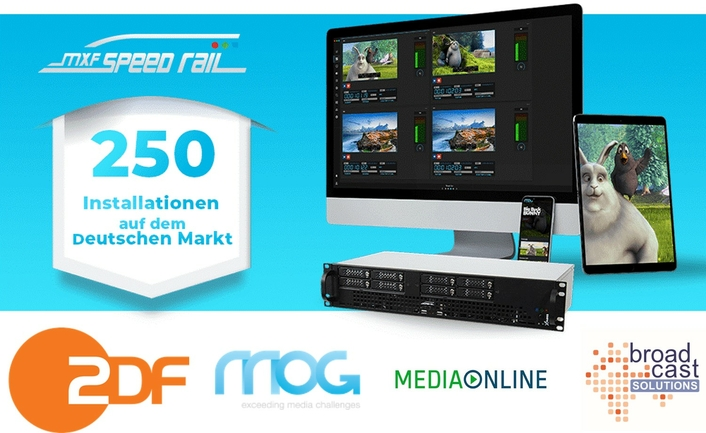 MOG Technologies and Media Online celebrate the 250th mxfSPEEDRAIL installation in Germany