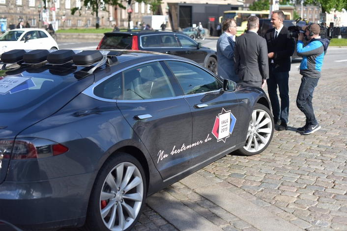The Danish broadcaster is capturing live political debate from inside a Tesla electric car, which has been transformed into a remotely operated studio