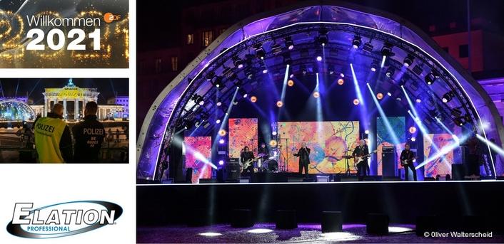 ZDF New Year's Eve show at Brandenburg Gate with weatherproof Elation lighting