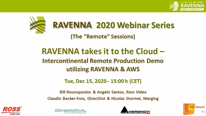 RAVENNA takes it to the Cloud with live, transcontinental remote production demo