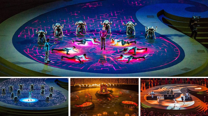 The CT package was dramatically expanded for the Closing Ceremony with the provision of three sculpted Buta stages