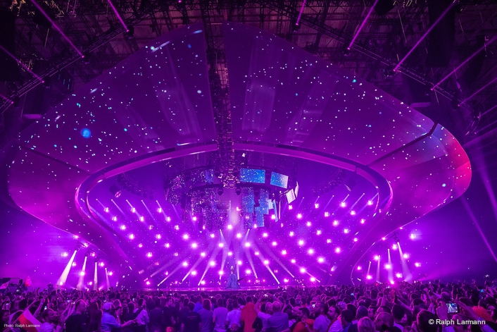 Over 800 Elation lighting fixtures used for this year's production with lighting design by Jerry Appelt; production headed by Ola Melzig