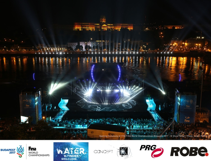 Robe Goes with the Flow at  FINA World Championships  Opening Ceremony