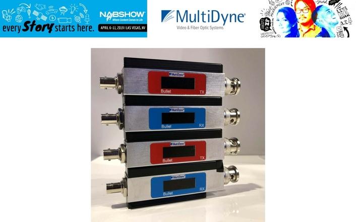 MultiDyne Adds Dante and Ethernet Option to Interlocking BULLET Series of Fiber-Optic Links at NAB2019 Show