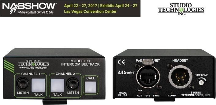 STUDIO TECHNOLOGIES EXPANDS Dante™ beltpack range AT NAB 2017