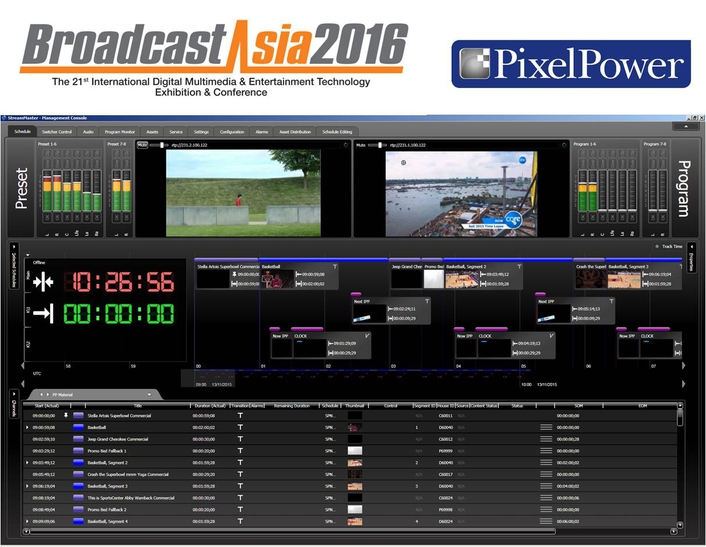 Pixel Power delivers true cloud broadcast playout and workflows at Broadcast Asia 2016