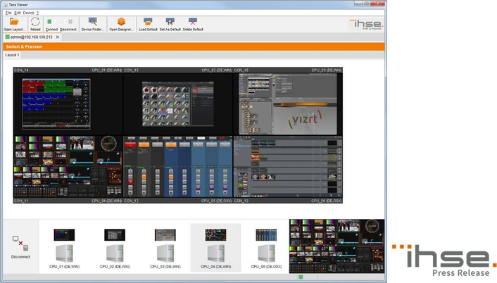 Tera Viewer enables IP-based monitoring and switching of video sources
