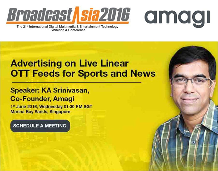 Amagi to Continue Its Thought Leadership March at BroadcastAsia2016