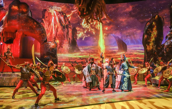 Luc Petit's highly anticipated creation of the 'Qing Show' opens in China with disguise at the heart of Projection workflows