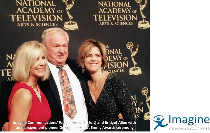 Imagine Communications' Terry Grinewich ( left) and Bridget Allen with ad management pioneer George Beattie at Emmy Awards ceremony