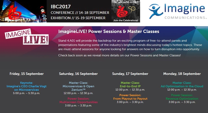 Imagine Communications to Host Thought-Leadership Sessions at IBC2017
