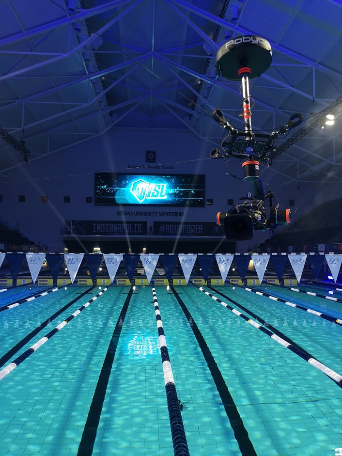 Robycam flies indoors with the International Swimming League in Indianapolis
