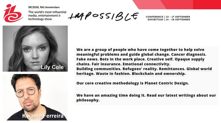 Lily Cole and Kwame Ferreira to  deliver the Impossible.com Keynote on Final Conference Day at IBC2018