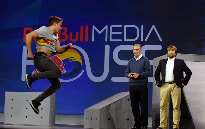 Red Bull Media House CTO Andreas Gall joined Krzanich on stage