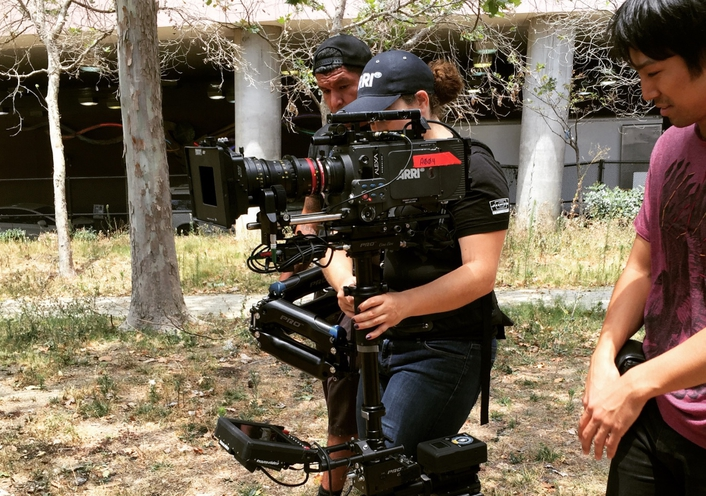 STEADICAM OPERATOR JESSICA LOPEZ USES SWITRONIX BATTERIES TO CATCH THE LAUGHS FOR COMEDIANS IN CARS GETTING COFFEE