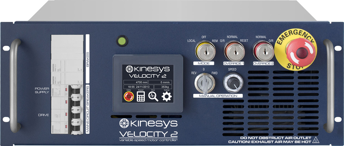 Kinesys' Velocity 2 drives have been developed to meet the most stringent current safety legislation and SIL3 standards whilst still offering excellent functionality and usability.  Available in a range of sizes and voltages these drives can control