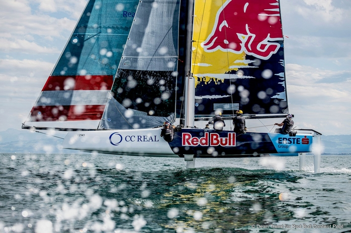 Red Bull Sailing – Endurance test for GC32 catamaran on Lake Constance
