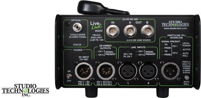 studio technologies introduces portable truck-end UNIT FOR ITS  live-link™ mini camera interface system
