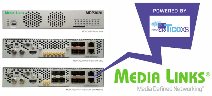 Media Links moves to intoPIX TICO-XS for its MDP3020 IP Media Gateway