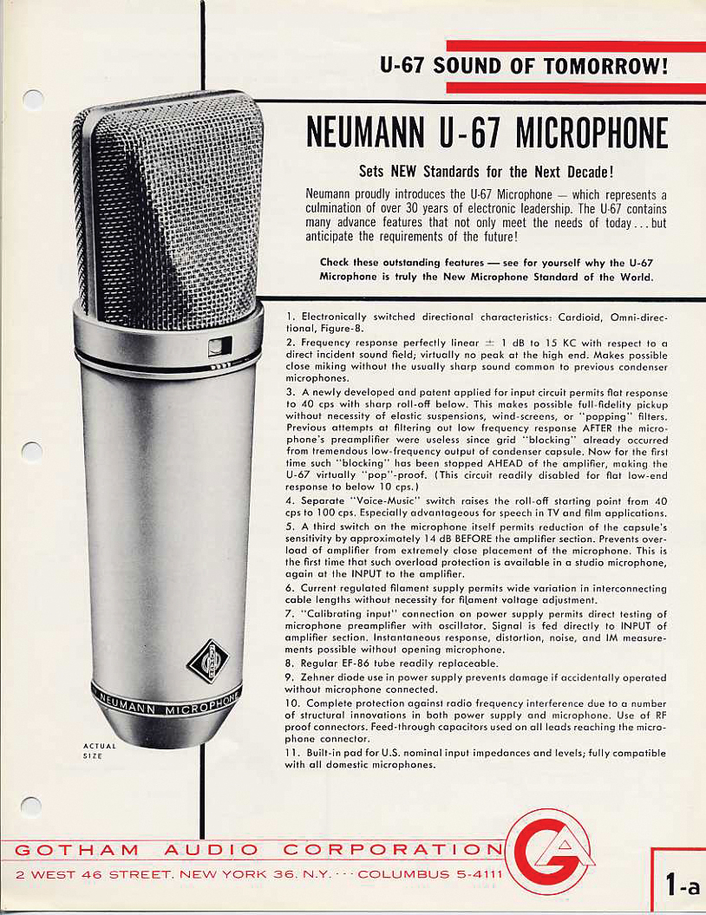 Neumann U 67 Microphone Selected As 2017 TECnology Hall of Fame Inductee