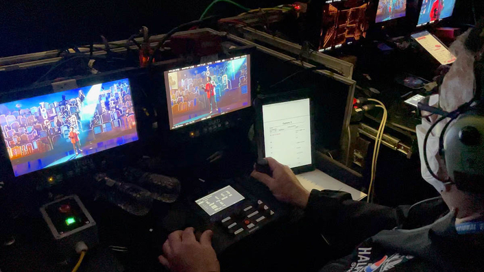 5 robotic TV cameras on rails and towers at the Super Bowl halftime show