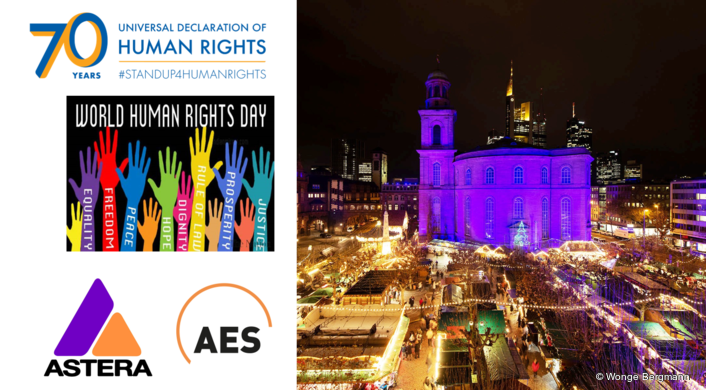 Turning the Paulskirche Blue for  Human Rights Day