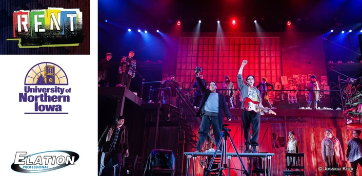The Tony award-winning rock musical Rent at the University of Northern Iowa's Strayer-Wood Theatre