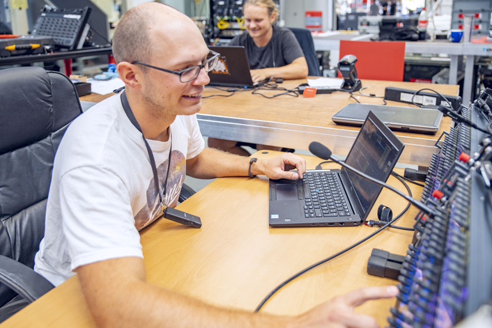 Riedel Managed Technology Staff Maintains Safe Social Distancing With New DisTag Distance Monitors