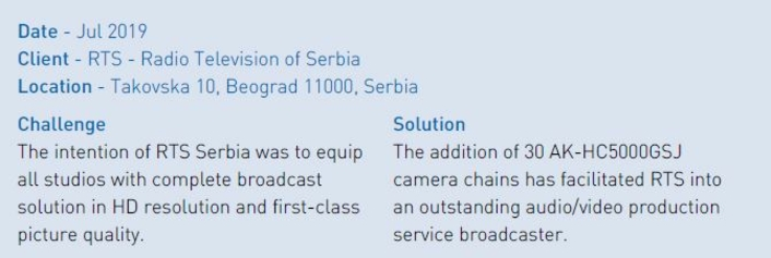 RTS Serbia: complete broadcast solution in all studios