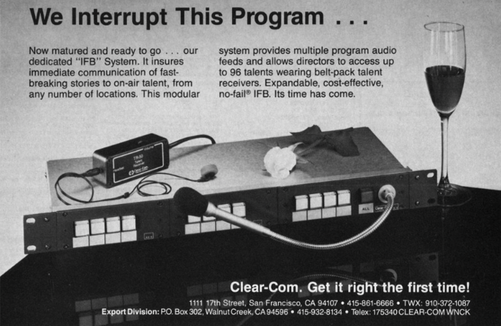 2018 marks the 50th anniversary of the founding of Clear-Com, the developer of innovative communication solutions. This anniversary provides an opportunity for us to look back on our incredible heritage of communications breakthroughs