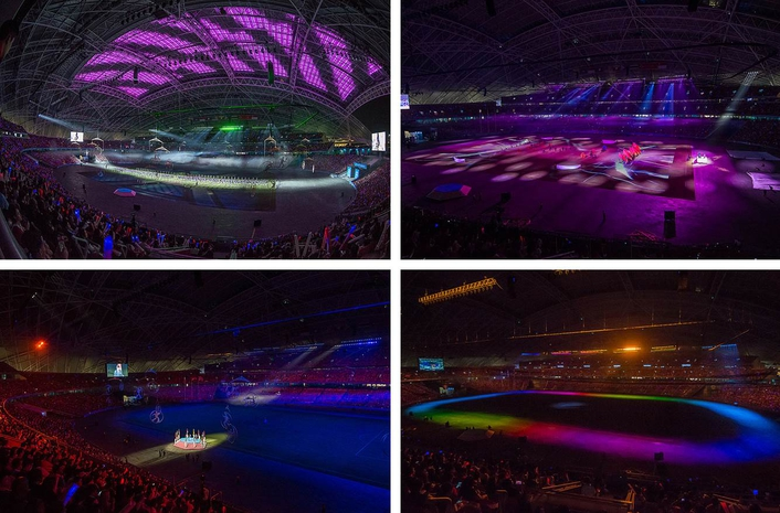 The Closing event's lighting required a completely different approach to the flamboyance of the opening