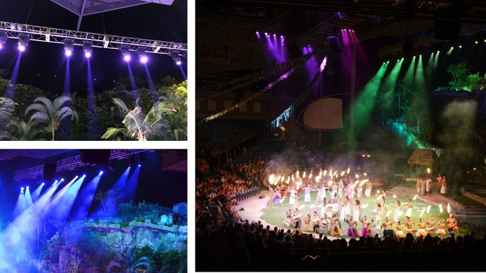 The Polynesian Cultural Center is replacing their current 1200 W spots with SGM G-Spot moving heads