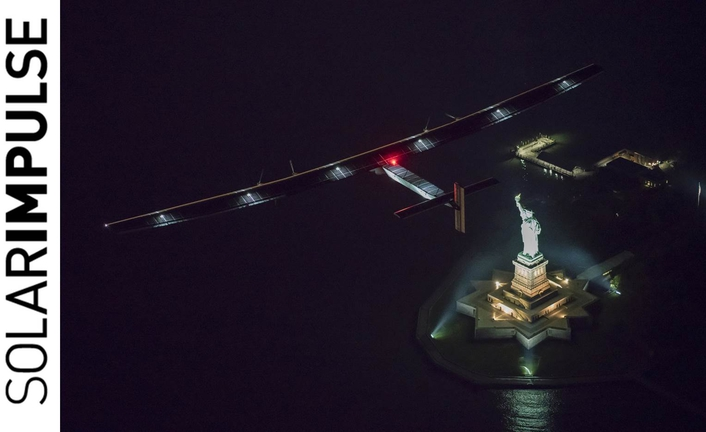 Sun-powered airplane arrives in New York
