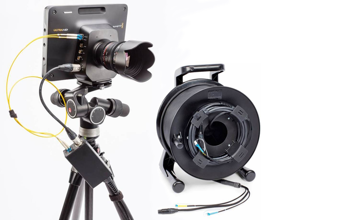 Featured are a variety of glass fiber hybrid cables with two single-mode optical fiber elements for video signal transmission and power for the camera