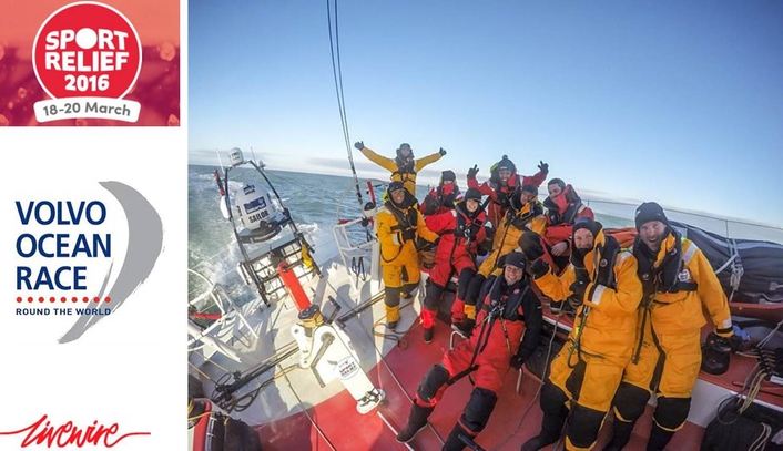 Six celebrities joined an experienced team of Volvo Ocean Race veterans to sail from Belfast to raise money for Sport Relief