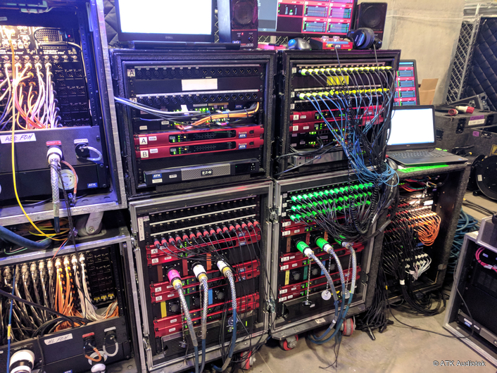 A gear rack operated by ATK Audiotek at Super Bowl LII, featuring Focusrite RedNet components, linking field PA speakers, monitor speakers, wireless microphones and in-ear monitors.
