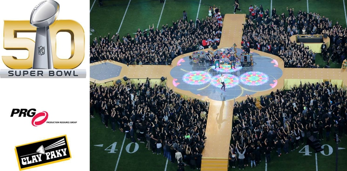 Clay Paky B-EYEs and Sharpys Go Center Stage at Super Bowl 50 Halftime Show
