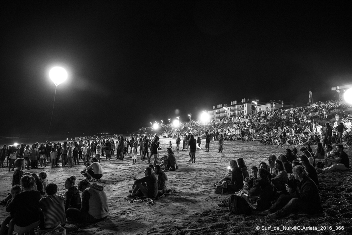 The Surf de Nuit is a unique concept gathering thousands of spectators each year in August on the Sables d'Or beach in Anglet, France.