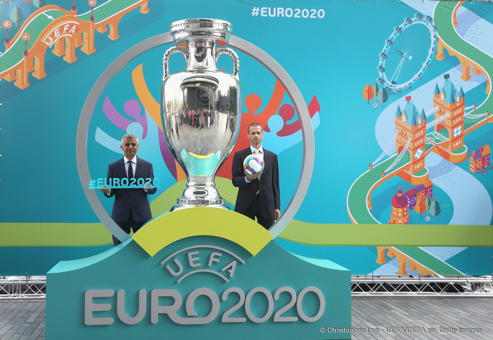 The countdown to UEFA EURO 2020 officially began today when the tournament's visual identity and the London host city logo were presented